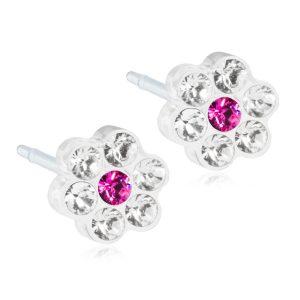 Blomdahl medical kõrvarõngad meditsiiniline plastik 0% niklit Daisy Crystal/Rose valge lill/roosa süda Swarovski kristall 5mm